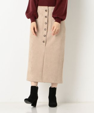 A-フロント釦スエードタイトスカート