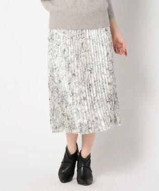 糸目フラワー柄パールシフォンプリーツスカート
