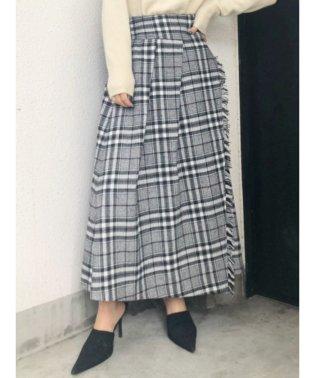 チェックフリンジロングスカート