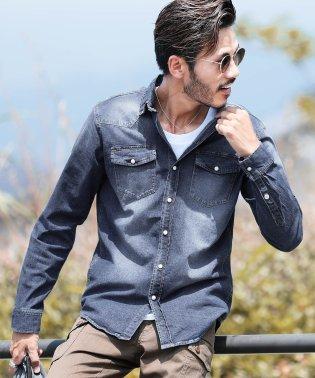 ウエスタンデニムシャツ / デニムシャツ メンズ シャツ ウエスタンシャツ デニム 長袖 メンズ 長袖シャツ