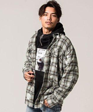 CavariA【キャバリア】ペンキ飛ばしビッグシルエットチェック柄長袖シャツ