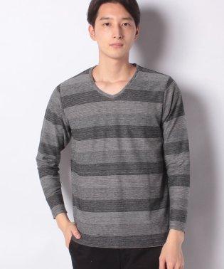 :メランジジャガードVネックTシャツ LS