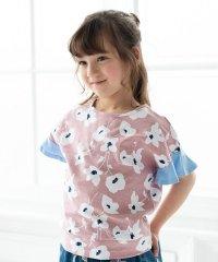 フラワープリント袖フリルTシャツ