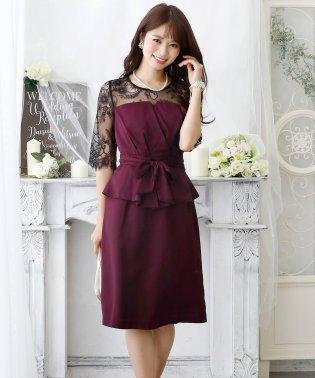 ペプラムレースデザインドレス・結婚式・お呼ばれワンピース・パーティードレス