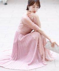 ラップスカートプリーツドレス・結婚式・お呼ばれワンピース・パーティードレス