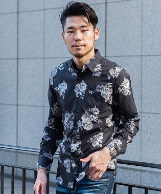 CavariA【キャバリア】バラ柄長袖レギュラーカラーシャツ