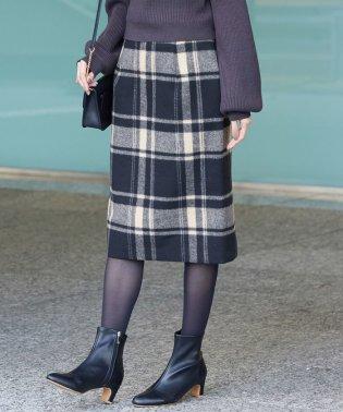 【着丈が選べる】【WEB限定カラー:ブラック】ビッグチェックアイラインスカート