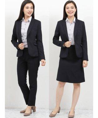 高機能ポリエステル 1釦ジャケット+スカート+スラックス ヘリンボン紺