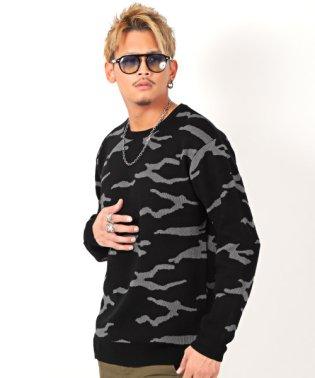 カモ柄クルーネックニット/ニット セーター メンズ 長袖 カモ柄 クルーネック ビター系 BITTER