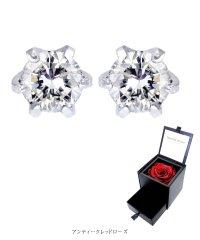 ダイヤモンドピアス 1粒  Pt900 プリザーブドフラワー 薔薇 ボックスセット