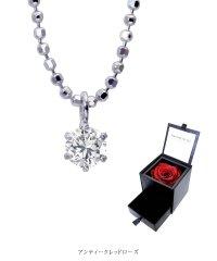 ネックレス レディース 一粒 ダイヤモンド 6本爪 プリザーブドフラワー ローズ 薔薇