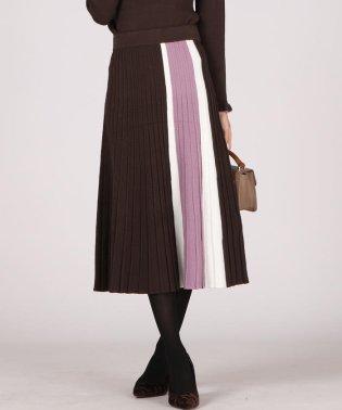 《手洗い可能》縦配色柄編みニットフレアスカート