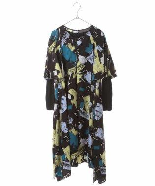 【洗濯機で洗える】デザインアートプリントドレス