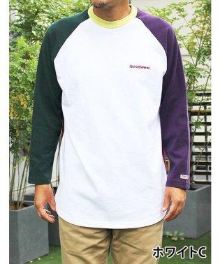 【Goodwear】USAコットン9分袖ロゴ刺繍ラグランT