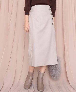 裏起毛サイド釦ロングタイトスカート