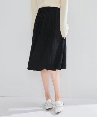 ミモレ丈ニットプリーツスカート