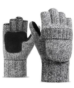 ウール混指ぬきミトン手袋
