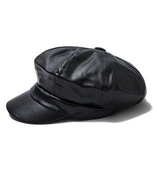 キャスケット 帽子 レディース 人気 フェイクレザー キャスケット 合皮 マドロスハット