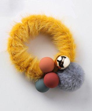 ファー ヘアゴム レディース ボール ヘアアクセ ポンポン 髪飾り 秋冬 髪留め 小物 きれいめ