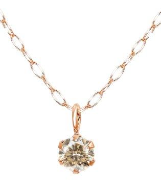 魅惑のシャンパンカラーから輝く★K10PG 天然ダイヤモンド 0.1ct シャンパンカラー 6本爪ネックレス