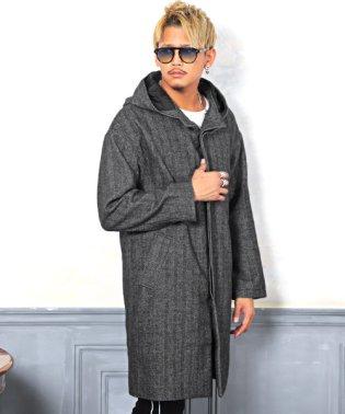 ウールフーデッドコート/コート メンズ ウールコート ロングコート フーデッド
