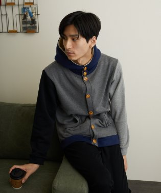 【Bl】パイル裏起毛パーカー釦カーディガン