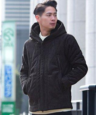 CavariA【キャバリア】 メンズ フード付きフェイクムートン 長袖 ブルゾン(ジャケット)