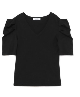 v neck puff sleeve tops