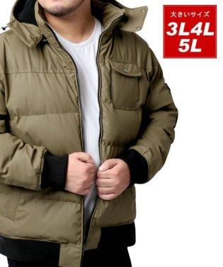 大きいサイズ PUコーディング 中綿 ジャケット