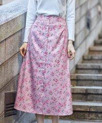パール付きフラワープリントスカート