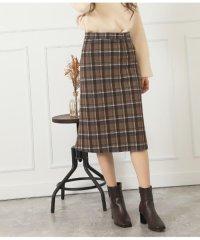 チェック柄ストレッチ素材スカート
