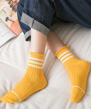 靴下 レディース ソックス ショート丈 クルーソックス ラインソックス ボーダーライン おしゃれ リブソックス 綿