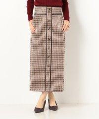 A-チェックワイドベルト配色スカート
