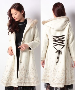 バラ刺繍フード付コート