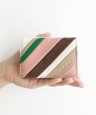 Legato Largo ストライプの切り替えが華やかな三つ折ミニ財布