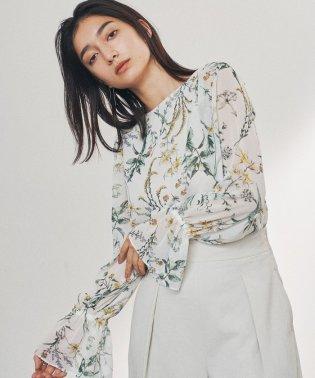 ◎【WEB限定】FC ボタニカルプリント 袖フレアブラウス /花柄