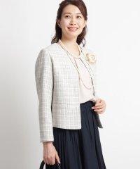 【ママスーツ/入学式 スーツ/卒業式 スーツ S~Lサイズあり】メランジツイードノーカラージャケット