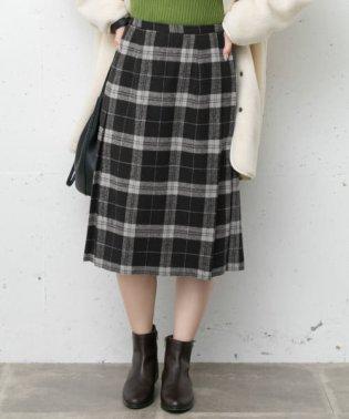 ウールミックスチェックプリーツスカート
