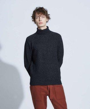【展開店舗限定】タック ハニカム編み メランジ タートルネック ニット