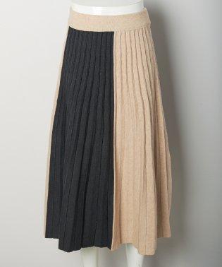 2toneプリーツニットスカート