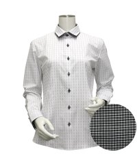ウィメンズシャツ長袖形態安定 ワイド衿 ブラック系