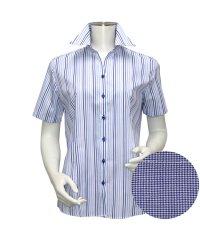 ウィメンズシャツ半袖形態安定 スキッパー衿 ブルー系
