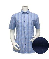 ウィメンズシャツ半袖形態安定 ワイド衿 ブルー系