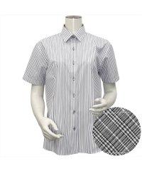 ウィメンズシャツ半袖形態安定 レギュラー衿 ブラック系(透け防止)