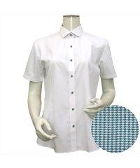 ウィメンズシャツ半袖形態安定 ワイド衿 白系(透け防止)