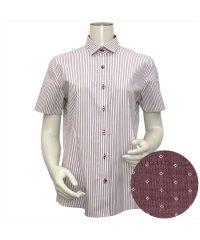 ウィメンズシャツ半袖形態安定 ワイド衿 エンジ系(透け防止)
