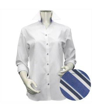 レディース ウィメンズシャツ 七分袖 形態安定 スキッパー衿 白×ストライプ織柄(透け防止)