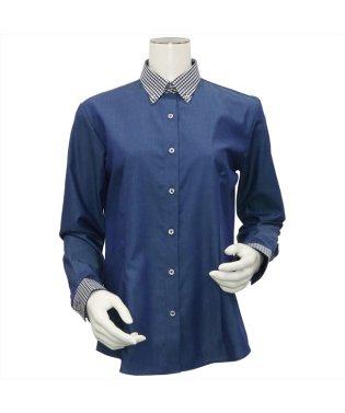 レディース ウィメンズシャツ 長袖 形態安定 クレリック ボタンダウン衿 綿100% ネイビー×無地調
