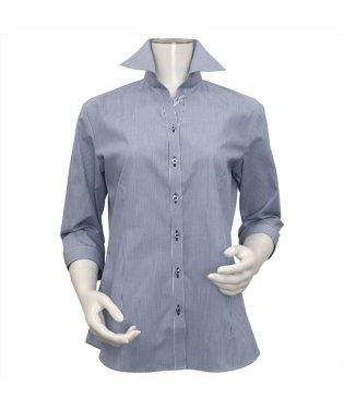 レディース ウィメンズシャツ 七分袖 形態安定 スキッパー衿 白×ネイビーストライプ