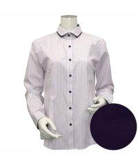 ウィメンズシャツ長袖形態安定 ワイド衿 ピンク系